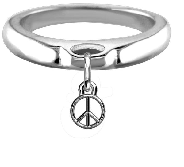 Chubby Peace Sign Charm Ring, Wide, Domed in Sterling Silver