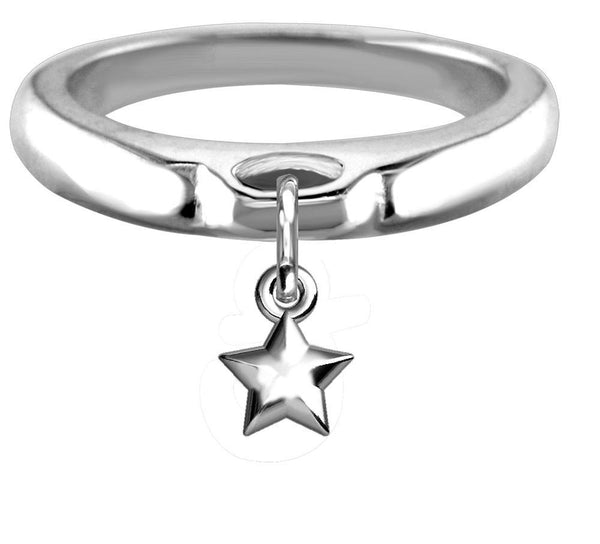 Chubby Star Charm Ring, Wide, Domed in Sterling Silver