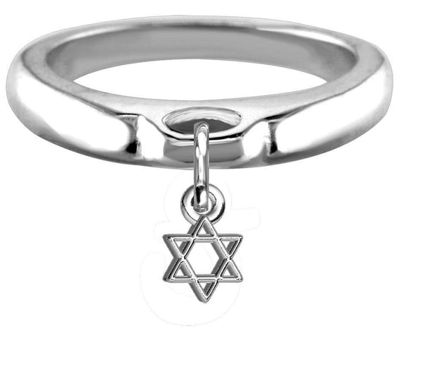 Chubby Star Of David Charm Ring, Wide, Domed in Sterling Silver