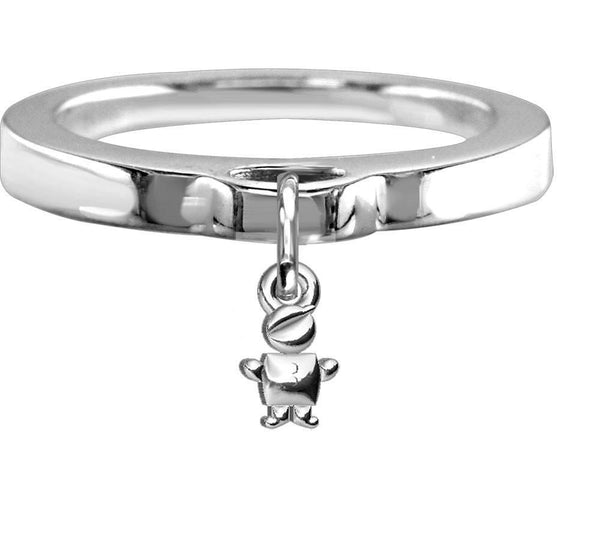 Chubby Belly Boy Charm Ring, Flat Band in Sterling Silver
