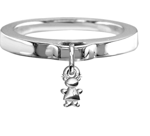 Chubby Belly Girl Charm Ring, Flat Band in Sterling Silver
