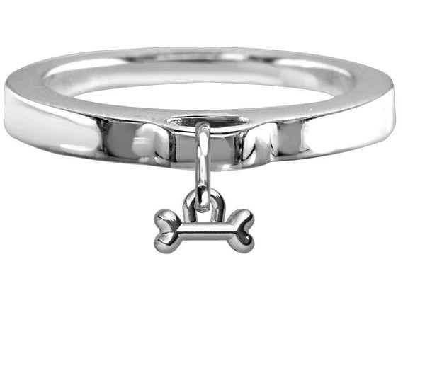 Chubby Bone Charm Ring, Flat Band in Sterling Silver