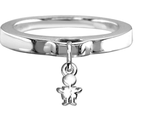 Chubby Boy Charm Ring, Flat Band in Sterling Silver