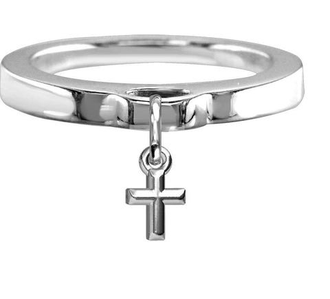 Chubby Cross Charm Ring, Flat Band in Sterling Silver