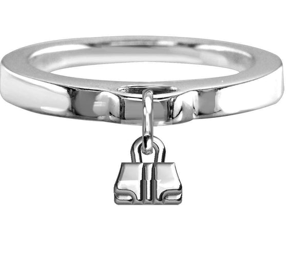Chubby Handbag Charm Ring, Flat Band in Sterling Silver