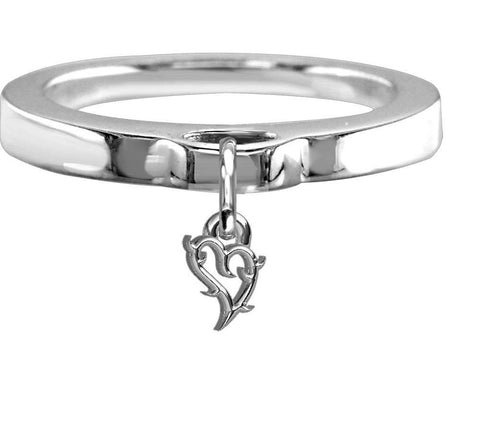 Chubby Guarded Love Heart Charm Ring, Flat Band in Sterling Silver