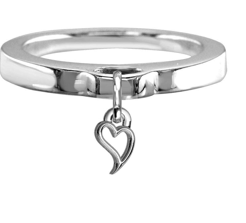 Chubby Wavy Heart Charm Ring, Flat Band in Sterling Silver