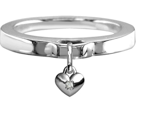 Chubby Cubic Zirconia Heart Charm Ring, Flat Band in Sterling Silver