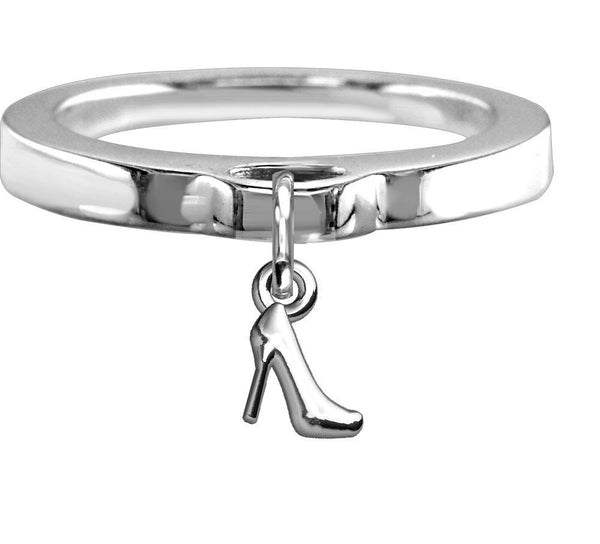 Chubby High Heel Charm Ring, Flat Band in Sterling Silver