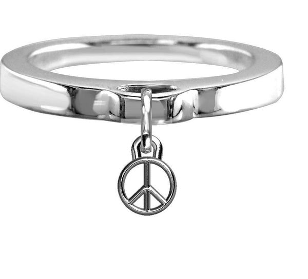 Chubby Peace Sign Charm Ring, Flat Band in Sterling Silver