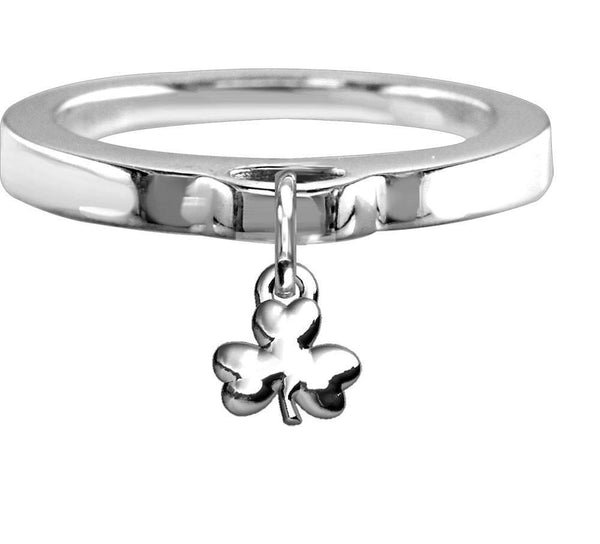 Chubby Shamrock Charm Ring, Flat Band in Sterling Silver