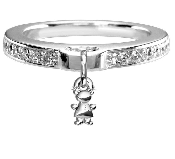 Chubby Belly Girl Charm Ring with Cubic Zirconia Band in Sterling Silver