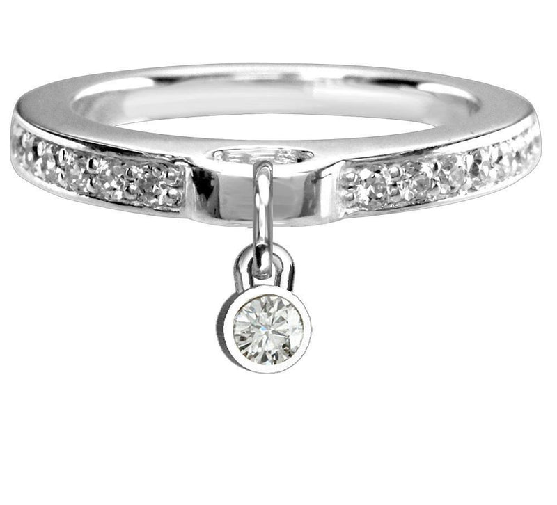 Round Cubic Zirconia Charm Ring with Cubic Zirconia Band in Sterling Silver