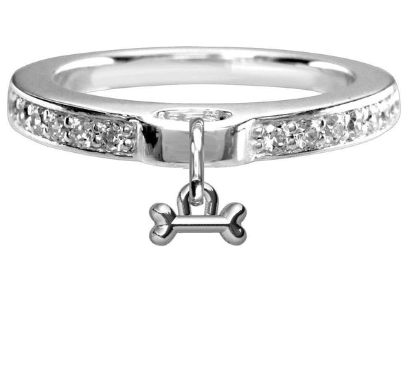 Chubby Bone Charm Ring with Cubic Zirconia Band in Sterling Silver