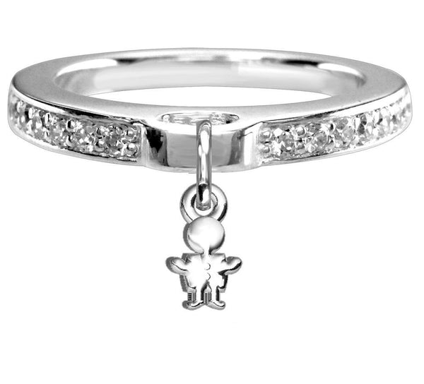 Chubby Boy Charm Ring with Cubic Zirconia Band in Sterling Silver