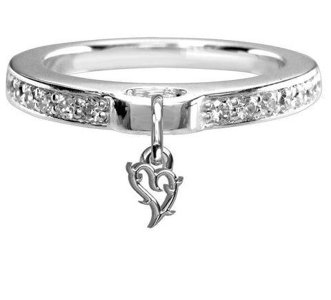 Chubby Guarded Love Heart Charm Ring with Cubic Zirconia Band in Sterling Silver