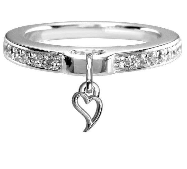 Chubby Wavy Heart Charm Ring with Cubic Zirconia Band in Sterling Silver