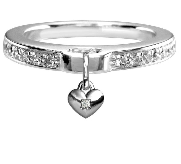 Chubby Cubic Zirconia Heart Charm Ring with Cubic Zirconia Band in Sterling Silver