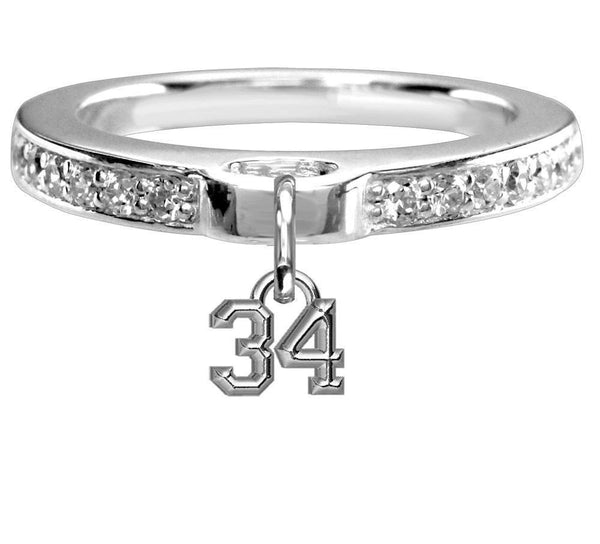 Chubby #34 Sports Charm Ring with Cubic Zirconia Band in Sterling Silver, Any Number