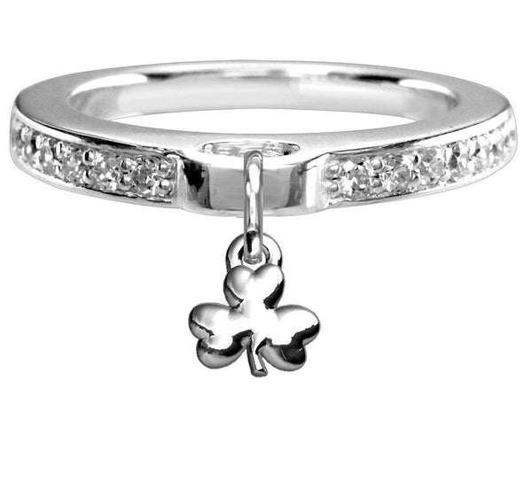 Chubby Shamrock Charm Ring with Cubic Zirconia Band in Sterling Silver