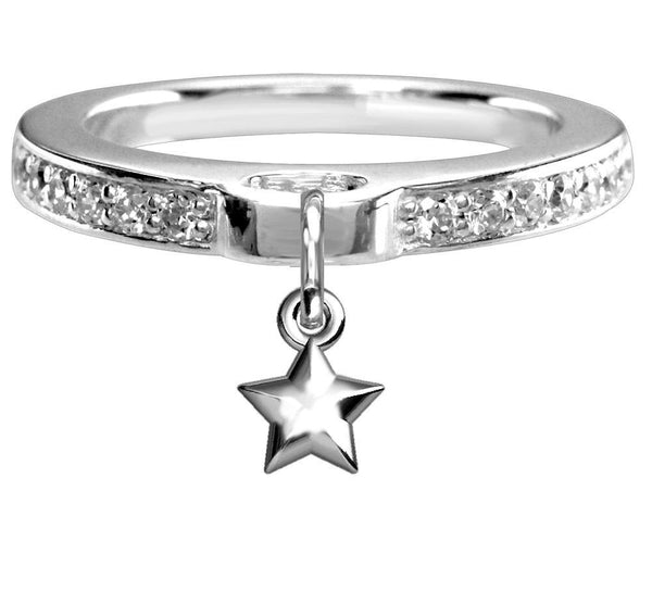 Chubby Star Charm Ring with Cubic Zirconia Band in Sterling Silver