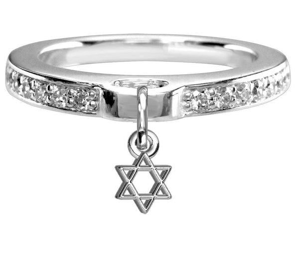 Chubby Star Of David Charm Ring with Cubic Zirconia Band in Sterling Silver