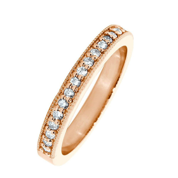 Diamond Wedding Band with Milgrain, 0.30CT Total  in 14k Pink, Rose Gold