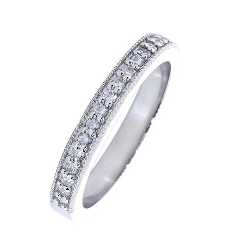 Diamond Wedding Band with Milgrain, 0.30CT Total  in 14k White Gold
