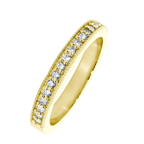 Diamond Wedding Band with Milgrain, 0.30CT Total  in 18k Yellow Gold
