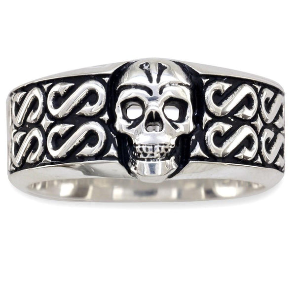 Mens Wide Skull Wedding Band, Ring with S Pattern and Black in Sterling Silver