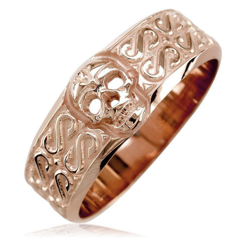 Mens Wide Skull Wedding Band, Ring with S Pattern in 14k Pink, Rose Gold