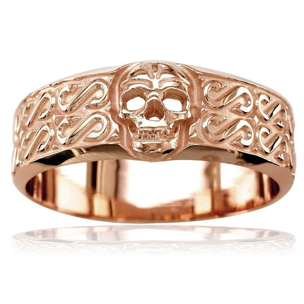 a5dc4fea0f7c0 Mens Wide Skull Wedding Band, Ring with S Pattern in 14k Pink, Rose Gold