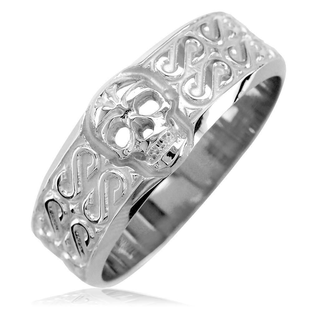 mens wide skull wedding band, ring with s pattern in 14k white