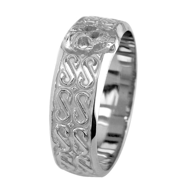 Mens Wide Skull Wedding Band Ring with S Pattern in 14k White
