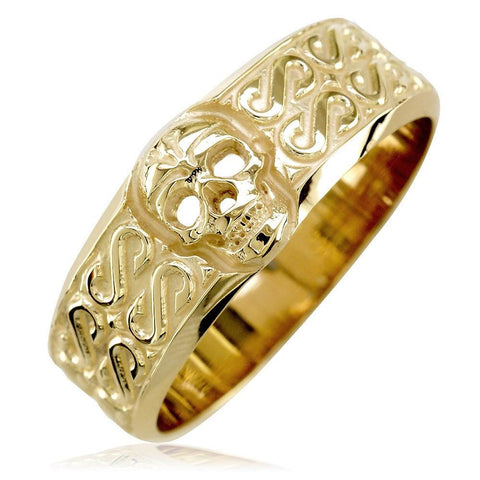 Mens Wide Skull Wedding Band, Ring with S Pattern in 18k Yellow Gold