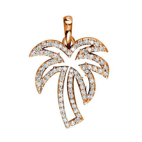 Small Open Diamond Palm Tree Pendant, 0.50CT in 14K Pink Gold