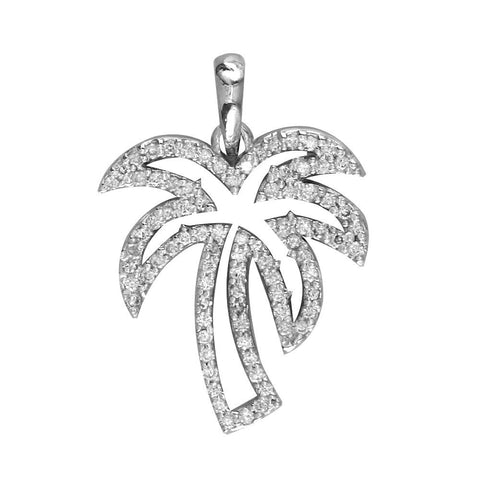 Small Open Diamond Palm Tree Pendant, 0.50CT in 14K White Gold