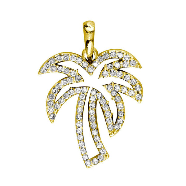 Small Open Diamond Palm Tree Pendant, 0.50CT in 14K Yellow Gold