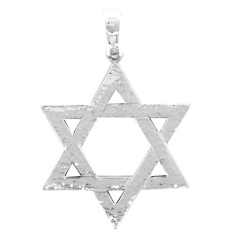 Hammered Finish Extra Large Jewish Star Charm in 14k White Gold