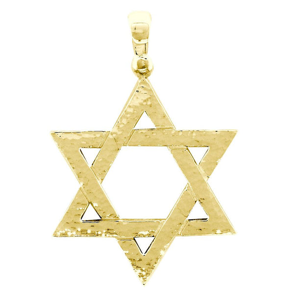 Hammered Finish Extra Large Jewish Star Charm in 14k Yellow Gold