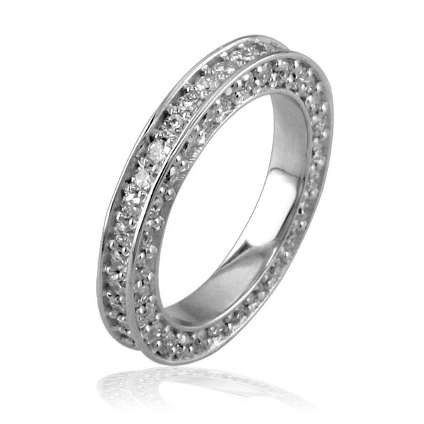 Diamond Band with Rounds On Top and Sides E/W-K0009