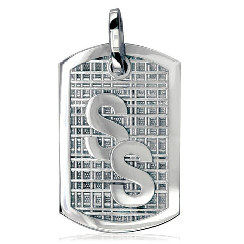 Intials Dog Tag with Bars Texture P-K0118