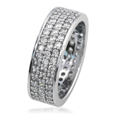 3 Row Diamond Band in 14K