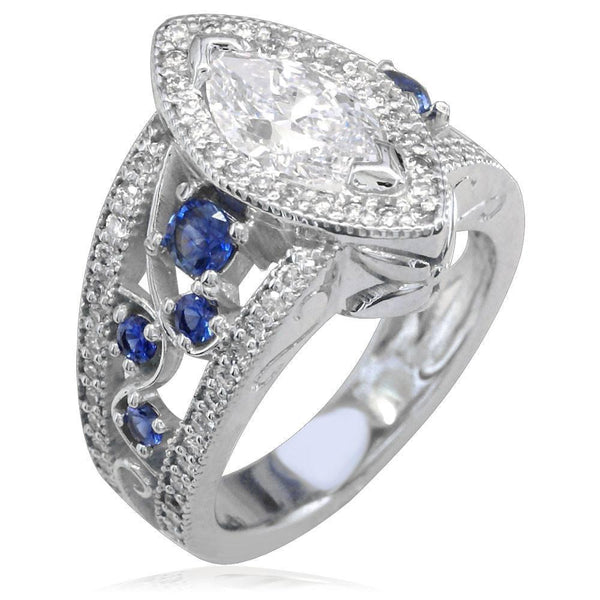 Large Marquise Shape Diamond Engagement Ring with Diamond and Sapphire Sides E/W-K0225