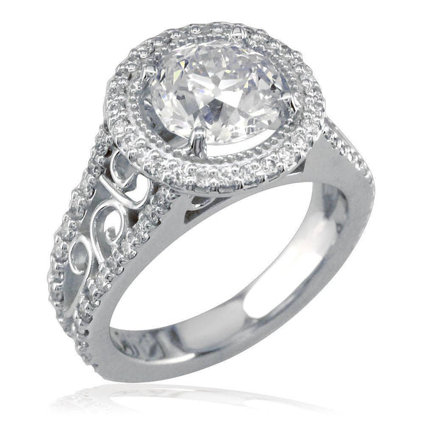 Diamond Engagement Ring with Diamond Halo E/W-K0226