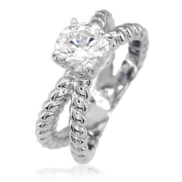Double Strand Rope Ring Engagement Ring Setting in 14K White Gold