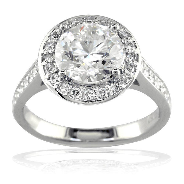 Diamond Engagement Ring with Diamond Halo E/W-K0306