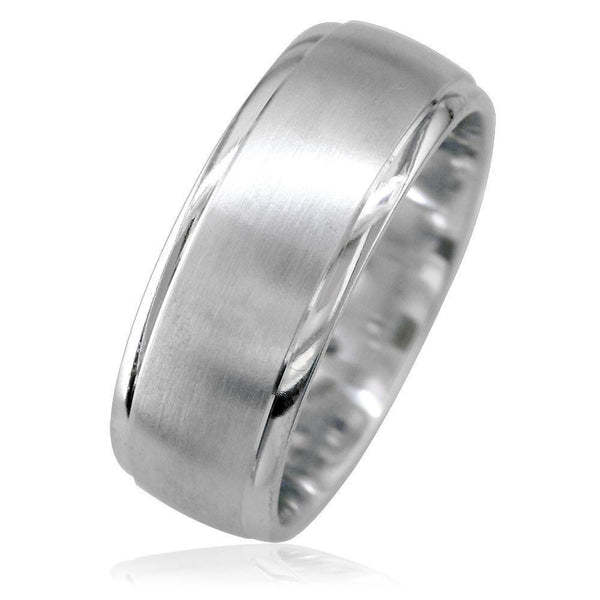 Wide Mens Band in 14K White Gold, Satin Middle, Polished Sides