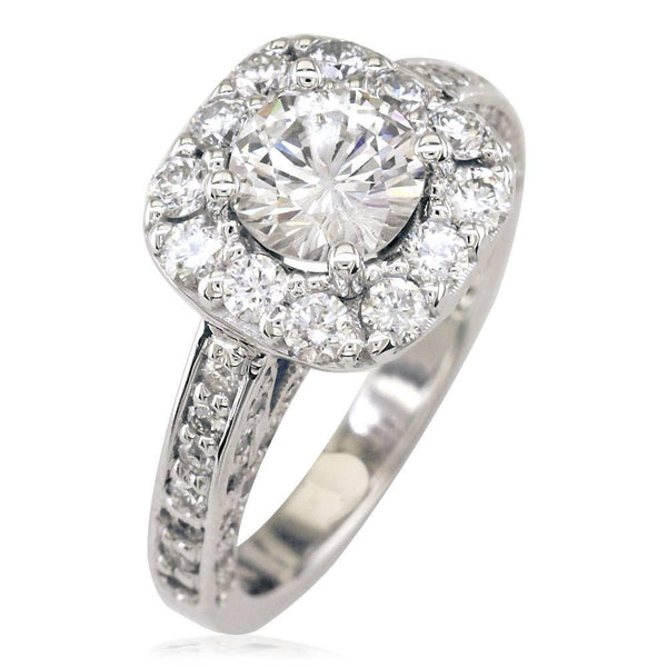 Diamond Halo Engagement Ring Setting in 14K White Gold, 1.00CT