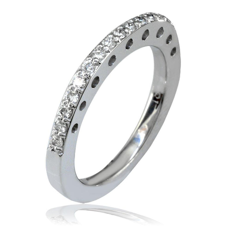 Matching Diamond Wedding Band with Punched Circles in 18K